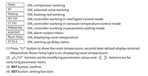 Temperature controller panel description: